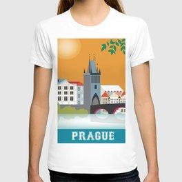 Prague, Czech Republic - Skyline Illustration by Loose Petals T-shirt