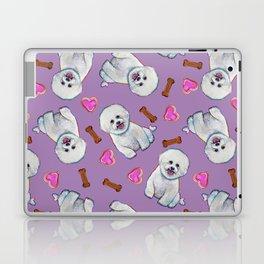 Bichon Frise Love Pattern on Lavender Laptop & iPad Skin