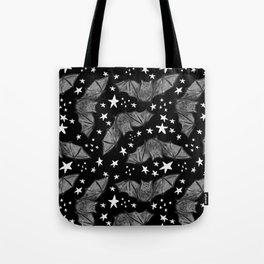 Creepy Cute Black and White Bat Pattern Tote Bag