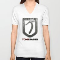 tomb raider V-neck T-shirts featuring Tomb Raider by Liquidsugar