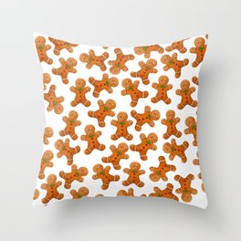 Sweet brown red christmas ginger bread man Throw Pillow