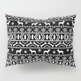 Pitbull fair isle christmas holidays black and white dog breed silhouette pattern Pillow Sham