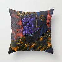 thanos Throw Pillows featuring Marvel Thanos Infinity Gauntlet by Adam Worley