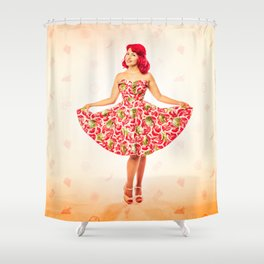 """""""Check Out These Melons"""" - The Playful Pinup - Girl in Watermelon Dress by Maxwell H. Johnson Shower Curtain"""