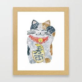 Watercolor Maneki Neko / Lucky Cat Framed Art Print