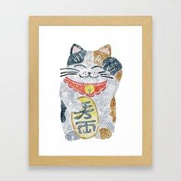 Watercolor Maneki Neko / Lucky Cat Framed Art Print