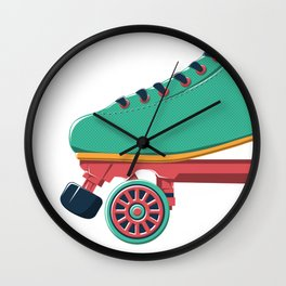 old school roller skate Wall Clock