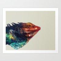 lizard Art Prints featuring Lizard by Nicklas Heldius