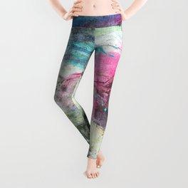 Grunge magenta teal hand painted watercolor Leggings