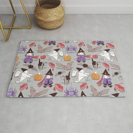 Halloween origami tricks // grey linen texture background Rug
