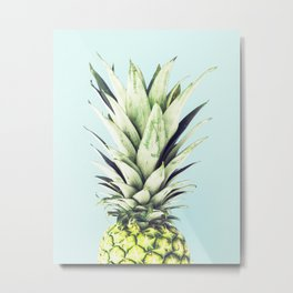 Pineapple, Blue, Pastel, Art, Scandinavian, Wall art Print Metal Print