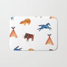 Tribal Indian Art and Teepee Pattern Bath Mat