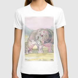Colorful Mom and Baby Hippo T-shirt