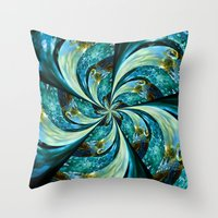 novelty Throw Pillows featuring Water Wheel by Moody Muse