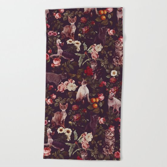 Cat and Floral Pattern Beach Towel