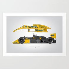 Outline Series N.º5, Ayrton Senna, Lotus 99T-Honda, 1987 Art Print