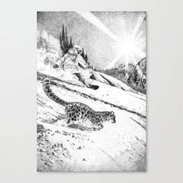 Snowboarder and snow leopard down the slope Canvas Print