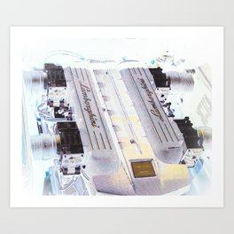 Super Exotic Fast Car Engine Art Print