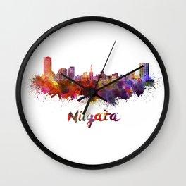 Niigata skyline in watercolor Wall Clock
