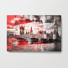 City-Art LONDON Red Bus Composing Metal Print