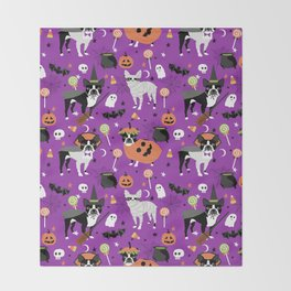 Boston Terrier Halloween - dog, dogs, dog breed, dog costume, cosplay cute dog Throw Blanket