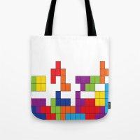 tetris Tote Bags featuring Tetris by Jennifer Agu