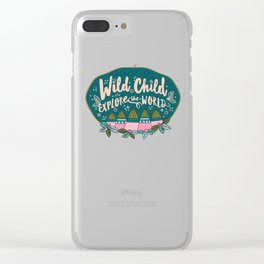 Wild Child Explore the World Mountains Clear iPhone Case