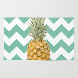Pineapple on turquoise stripes background Rug
