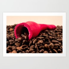Red horn on coffee Art Print