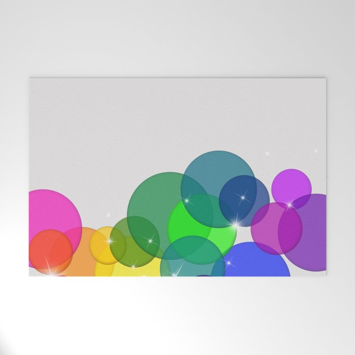 Translucent Rainbow Colored Circles with Sparkles - Multi Colored Welcome Mat