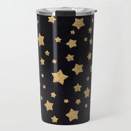 Gold Stars on BLack Travel Mug