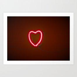 Neon Heart Left Side Art Print