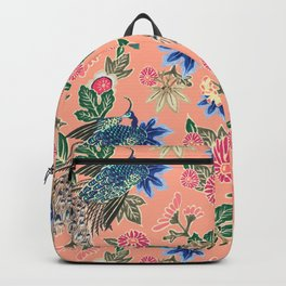Peacock Floral in Coral Backpack