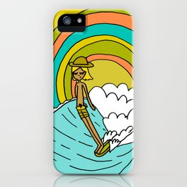 groovy vibes hang 10 by surfy birdy iPhone Case