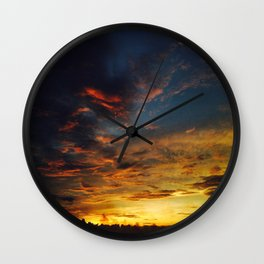 Blue And Yellow Sky By The Sunset Wall Clock