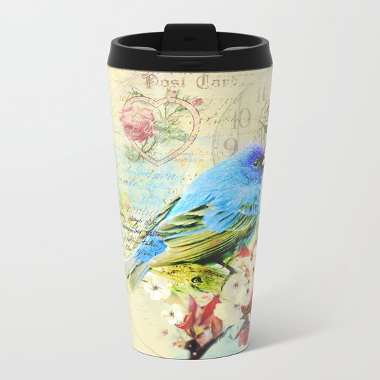 Vintage illustration with bird and butterfly Metal Travel Mug