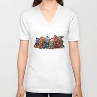 cuddle V-neck T-shirts featuring Cuddle by Friederike Ablang