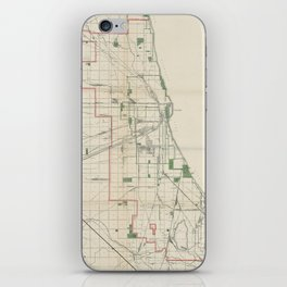 Vintage Map of The Chicago Railroads iPhone Skin