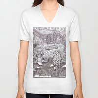vermont V-neck T-shirts featuring Zentangle Vermont Mountain Pond by Vermont Greetings