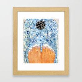 Shower Feet Framed Art Print