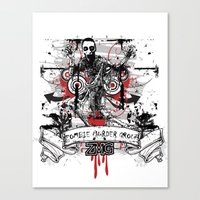 zombie Canvas Prints featuring Zombie by DaeSyne Artworks