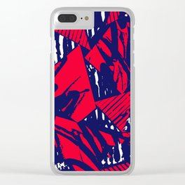 Red and Blue digital collage pattern Clear iPhone Case