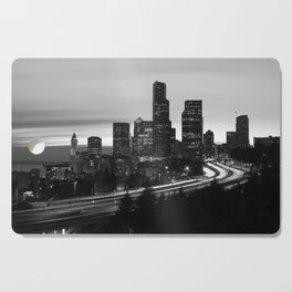 Seattle Skyline Sunset City - Black and White Cutting Board