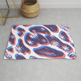 Offset Universe Blue and Red Rug