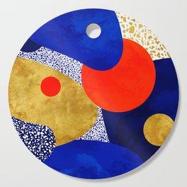 Terrazzo galaxy blue night yellow gold orange Cutting Board