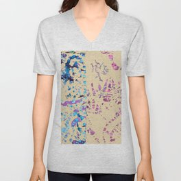 Fiber art, mixed media, fabric collage, beige off-white blue pink purple Unisex V-Neck