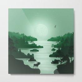 Norwegian Fjords 2 - Minimal Art in Green  Metal Print