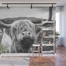 Highland Cow Nose Barbed Wire Fence Black and White Wall Mural