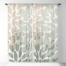 Abstract Floral Prints for Home, Green and Light Peach Sheer Curtain