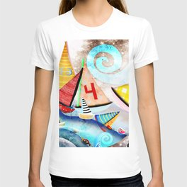Wooden sail boat Love - Wild ocean waves T-shirt